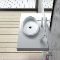 Plan vasque suspendu avec vasque ovale à rebords SDPW45