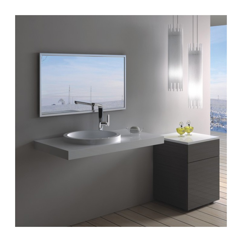 lave mains suspendu rectangulaire avec vasque ronde. Black Bedroom Furniture Sets. Home Design Ideas