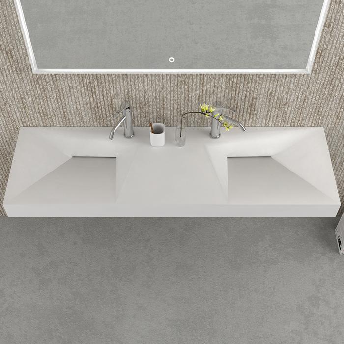 Plan vasque double en fonte minérale ultra design