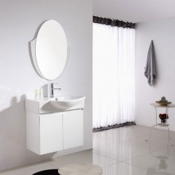 Petit meuble blanc pour salle de bain avec miroir ovale SD091-750
