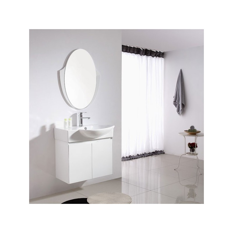 Ensemble salle de bain simple vasque ref sd091 750 for Petit miroir blanc