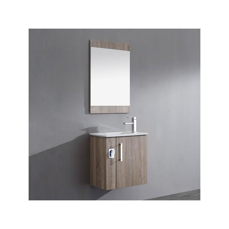 Meuble salle de bain en mdf pr mont r f sd092 550agc coloris gris cendr - Meuble tv gris cendre ...