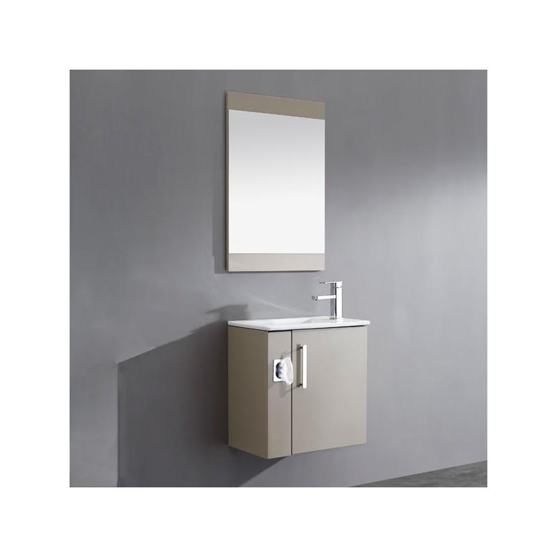 Meuble salle de bain en mdf pr mont r f sd092 550amg - Meuble salle de bain avec panier a linge integre ...