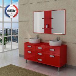 Meuble de salle de bain rouge à poser déco moderne DIS911CO