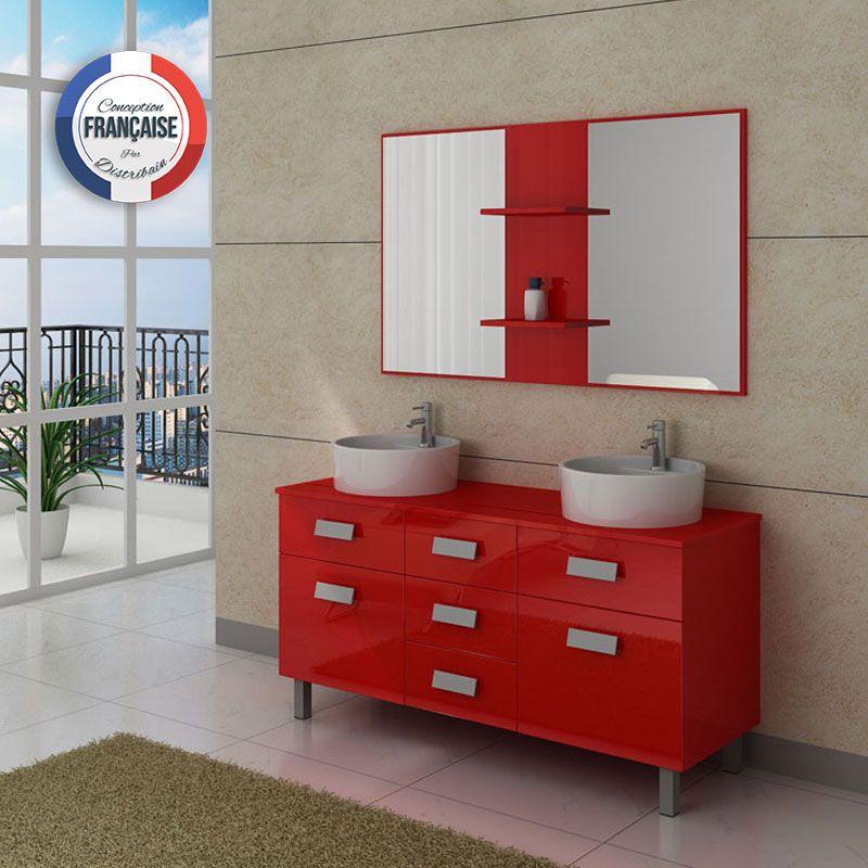 Meuble salle de bain rouge pas cher avec for Meuble salle de bain a suspendre pas cher