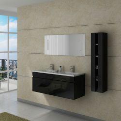 Meuble de salle de bain double vasque noir gloss design DIS980N