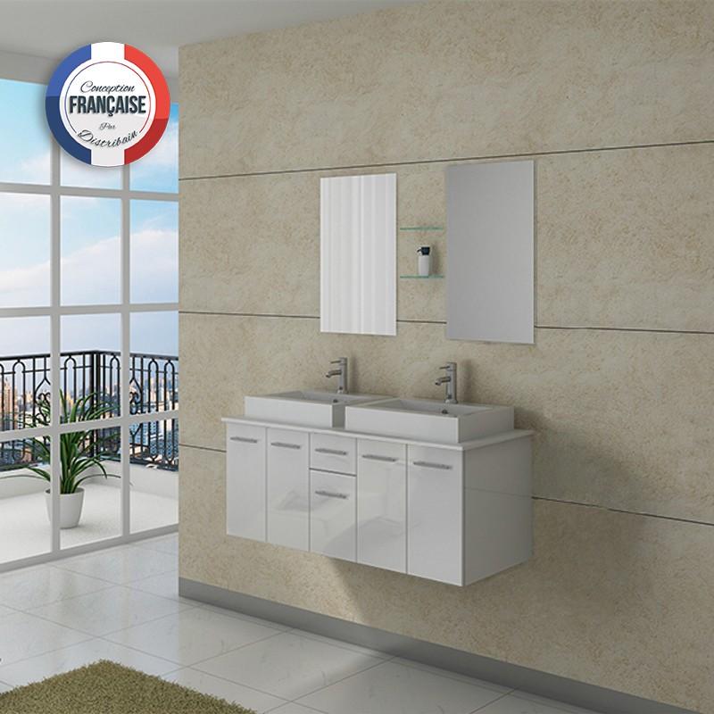 Meuble de salle de bain double vasque blanc suspendu DIS981B