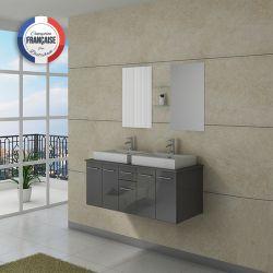Meuble de salle de bain double vasque gris moderne DIS981GT