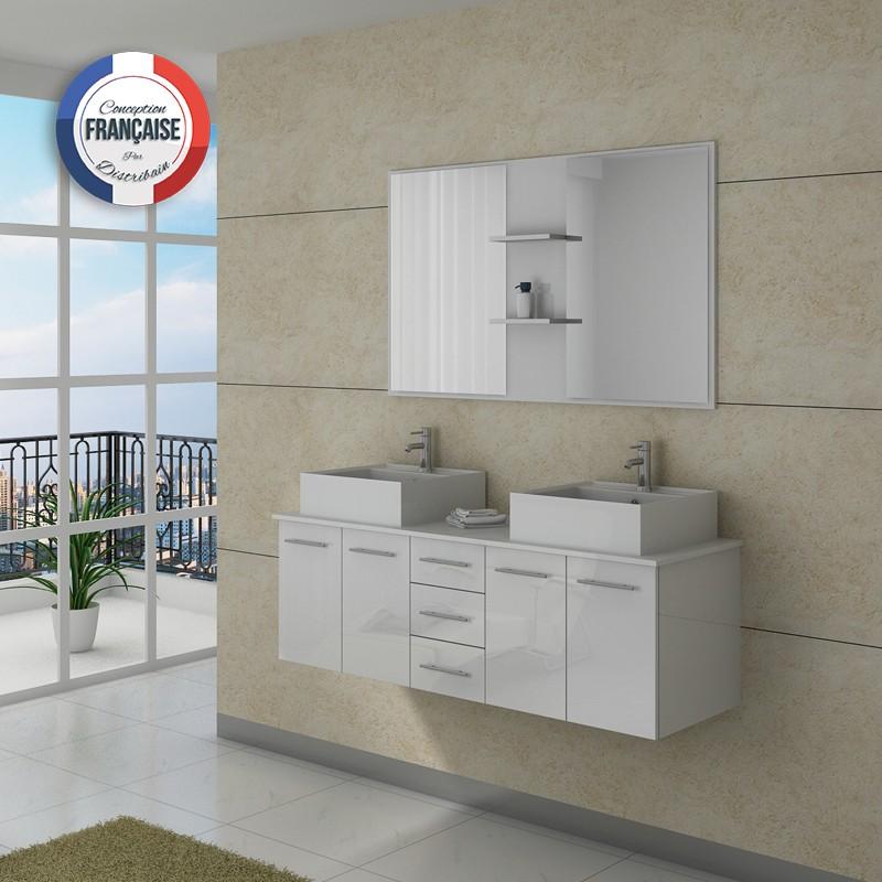 Meuble salle de bain ref dis982b for Meuble salle de bain 2 vasques blanc
