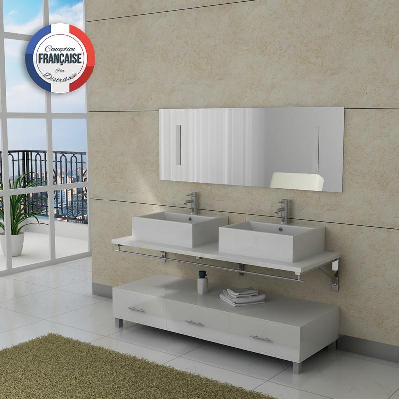 Meuble salle de bain blanc avec miroir et 2 vasques DIS985B