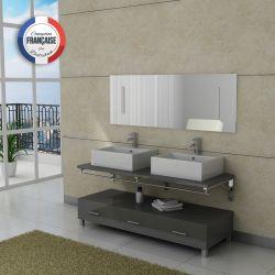Meuble salle de bain double vasque gris taupe DIS985GT