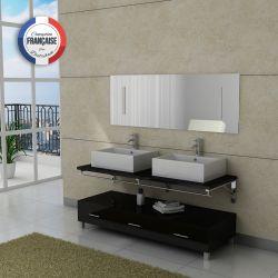 Meuble salle de bain double vasque Noir DIS985N