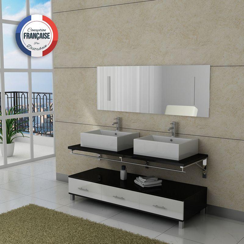 meuble salle de bain noir et blanc double vasque dis985nb - Meuble Salle De Bain Noir Et Blanc