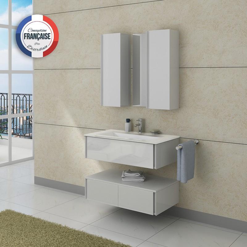 Meuble salle de bain blanc moderne for Meuble salle de bain moderne