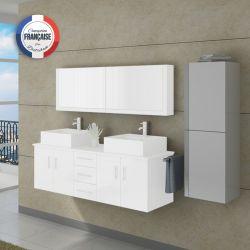 Colonne de rangement blanc et inox salle de bain COL991B