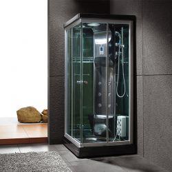 Cabine de douche carrée noire vitrée Black Swan