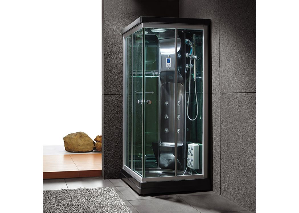 cabine de douche rectangulaire noire avec hammam swan black. Black Bedroom Furniture Sets. Home Design Ideas