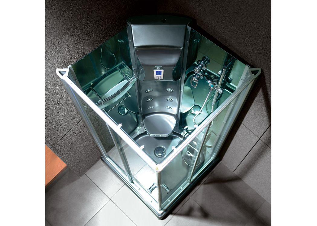 Cabine de douche rectangulaire noire avec hammam swan black - Cabine de douche noir ...