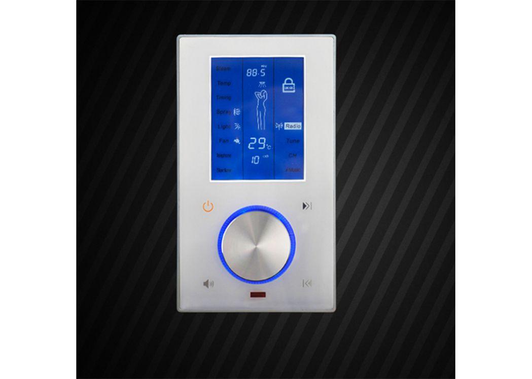 Cabine de douche rectangulaire noire avec hammam swan black - Cabine de douche hydromassante avec radio ...