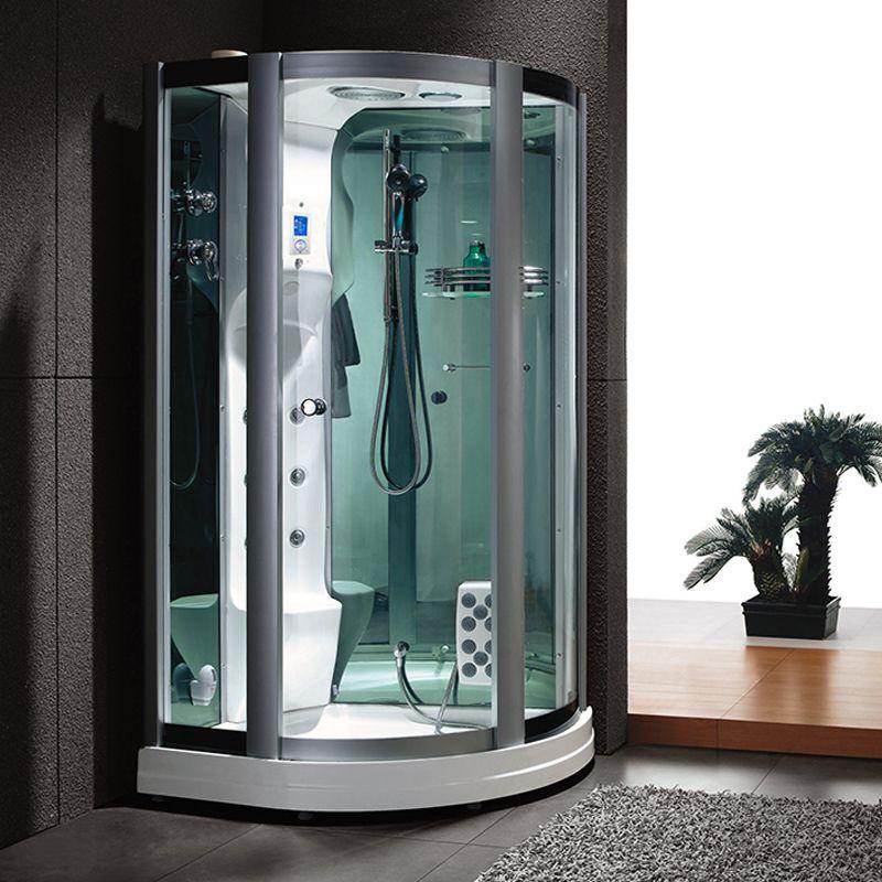 Cabine de douche d 39 angle integrale hydromassage et chromoth rapie g r - Grande cabine de douche ...