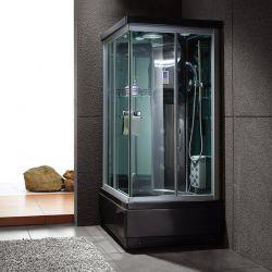 Cabine de douche carrée receveur profond Waikini noire