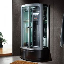Cabine de douche avec facade ronde Saona noire