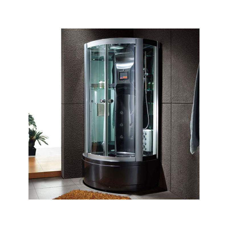 cabine douche hydromassante en version noire saona black. Black Bedroom Furniture Sets. Home Design Ideas
