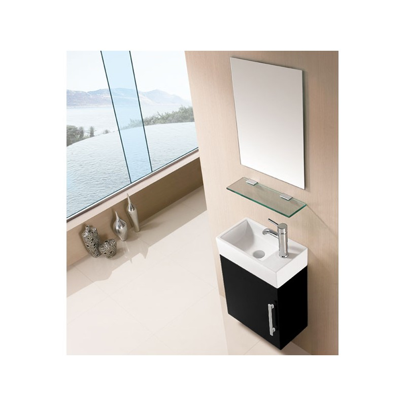 Petit ensemble de salle de bain noir sd960n for Petit meuble salle de bain blanc