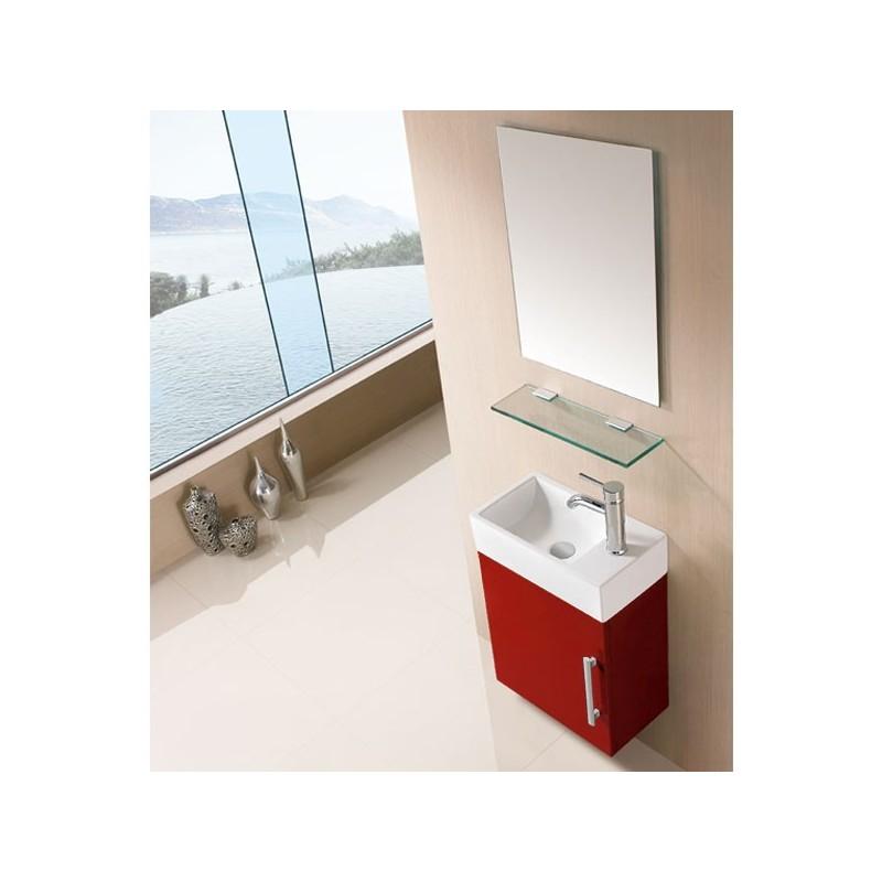 Meuble salle de bain sd960rc rouge cerise salledebain online for Salle de bain online