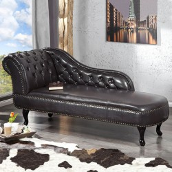 Banquette méridienne Chesterfield Dark Coffee