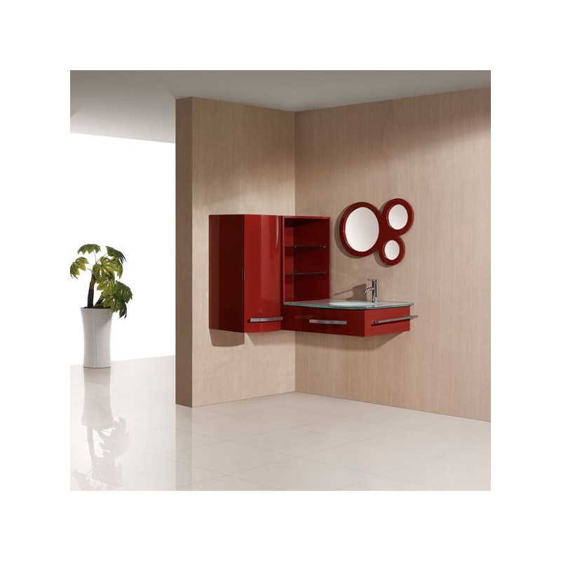 Sdg970rc meuble salle de bain coloris rouge cerise for Meuble salle de bain de luxe