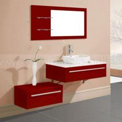Meuble salle de bain SD682B-RC coloris rouge cerise