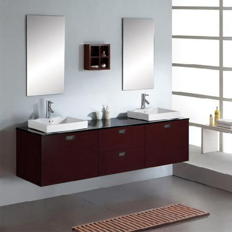 Best Bain Double Vasque Bois Massif Wenge Contemporary - Matkin ...