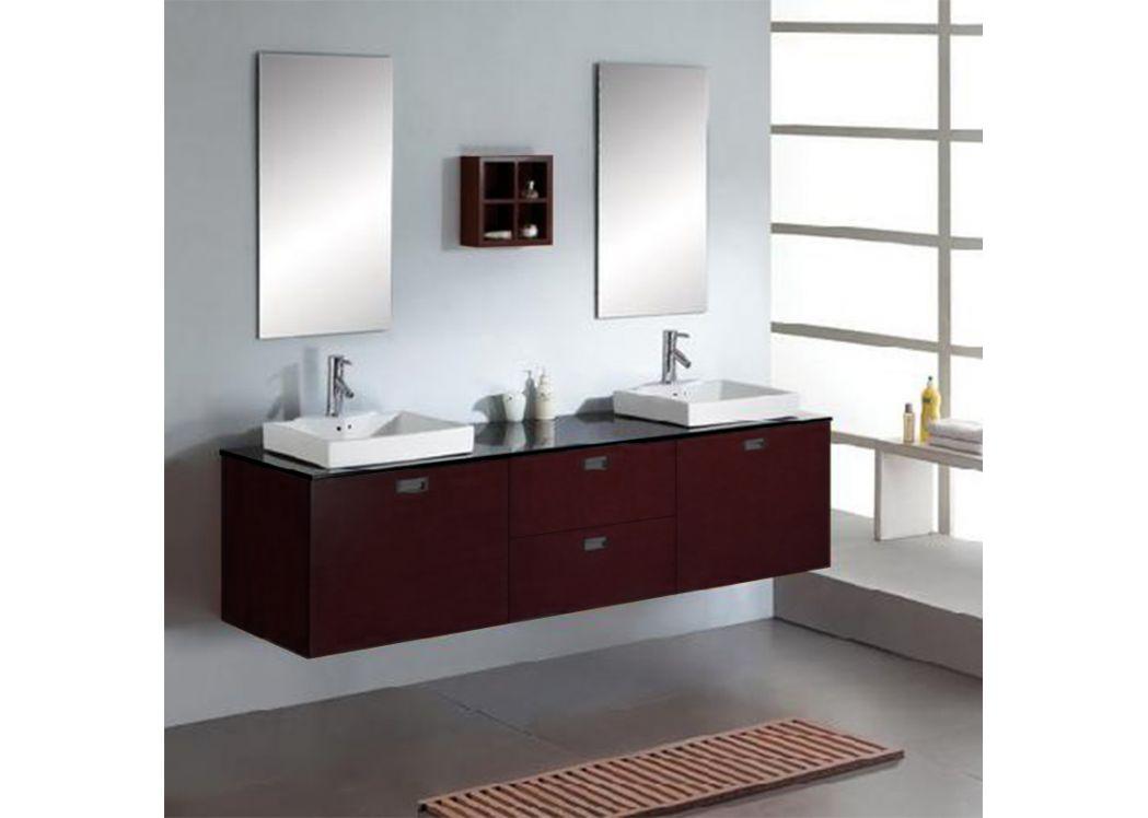 Meuble salle de bain bois massif couleur weng sd892w for Meuble salle de bain double vasque online