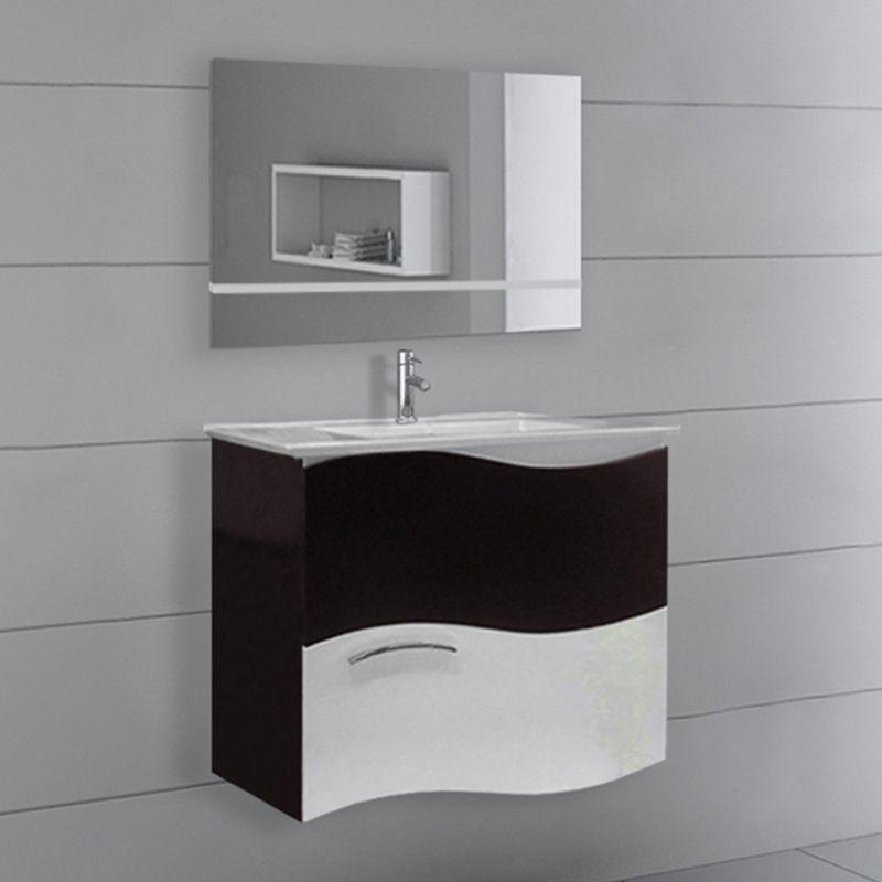 Ensemble de salle de bain bicolore SD8834W-B Wengé et Blanc