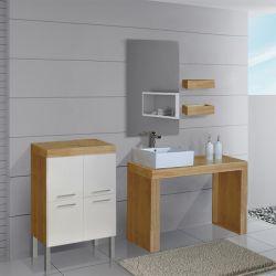 Meuble simple vasque SD870B-BN Beige et bois naturel