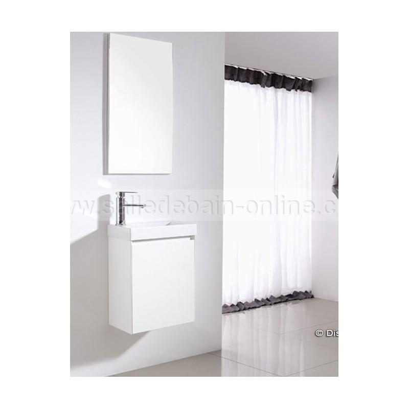 Prix meuble salle de bain coloris rouge et gris taupe r f - Meuble de salle de bain pas chere ...