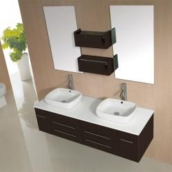 SD619MW Meuble salle de bain coloris wengé