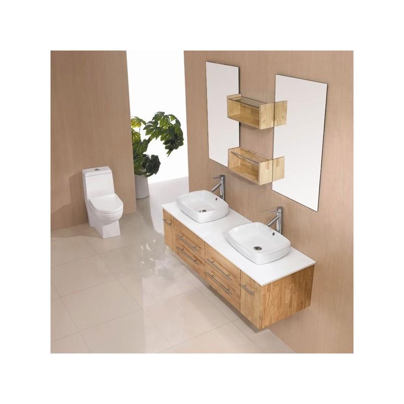 Meuble salle de bain de luxe en bois massif ref 10619mb for Meubles en bois naturel