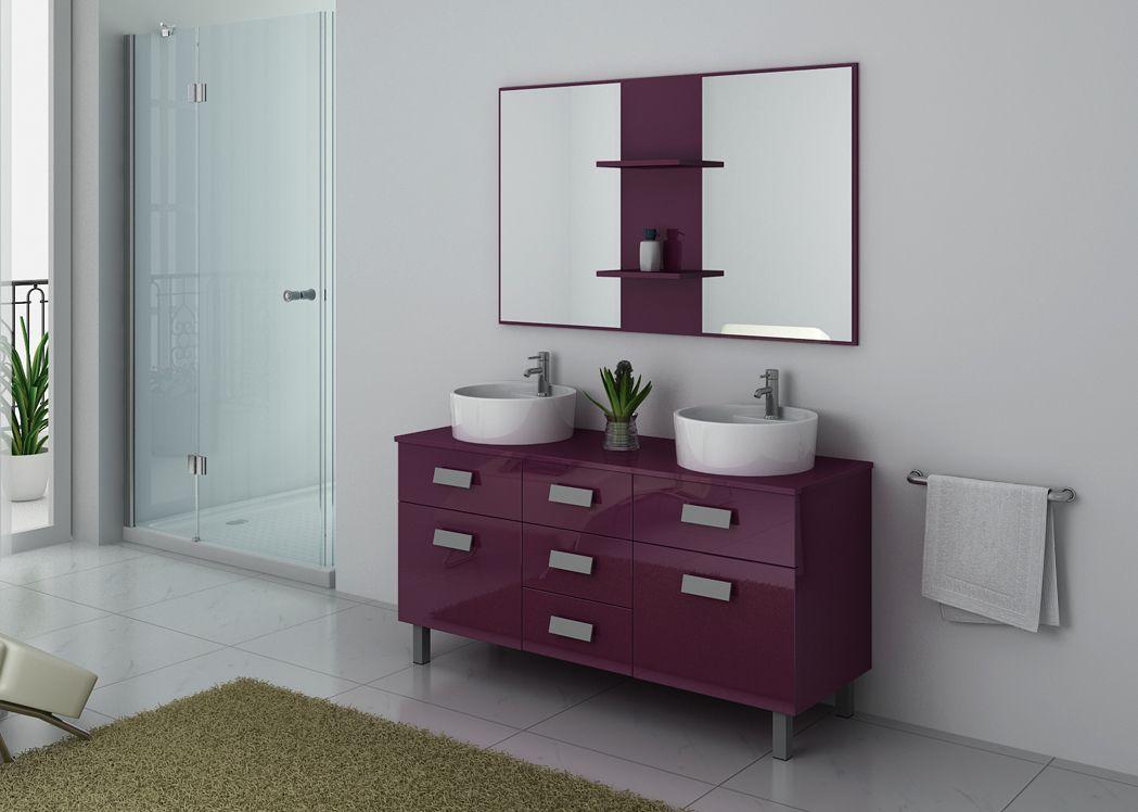 meuble de salle de bain aubergine double vasque meuble 2. Black Bedroom Furniture Sets. Home Design Ideas