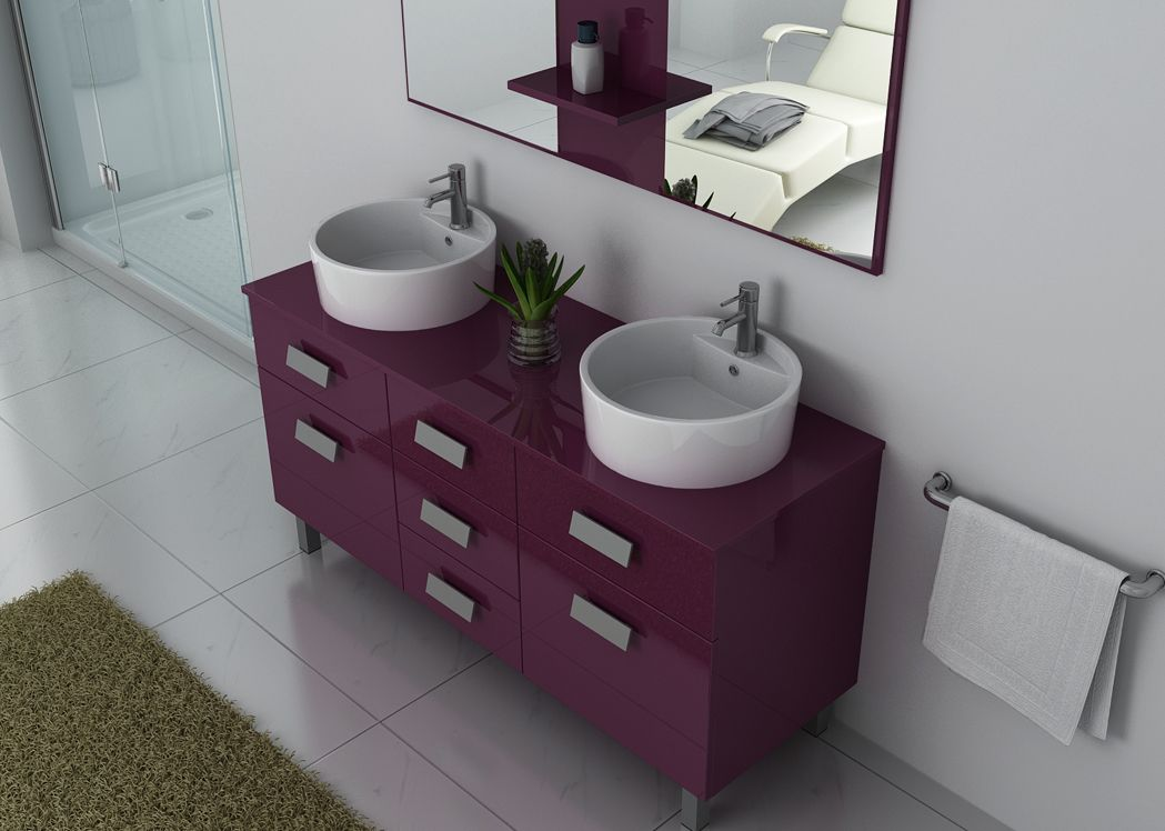 meuble de salle de bain aubergine double vasque meuble 2. Black Bedroom Furniture Sets. Home Design Ideas