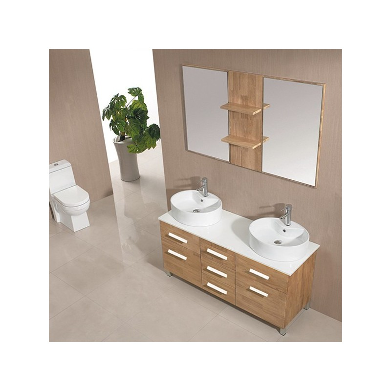 Promotion 2 sd911bn meuble salle de bain coloris bois for Salle de bain online