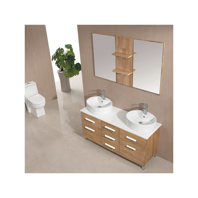 meuble salle de bain de luxe coloris bois naturel ref sd911bn. Black Bedroom Furniture Sets. Home Design Ideas