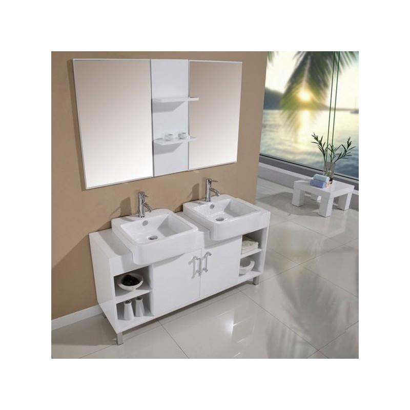 Meuble salle de bain de luxe en bois massif ref sd923b for Meuble salle de bain online