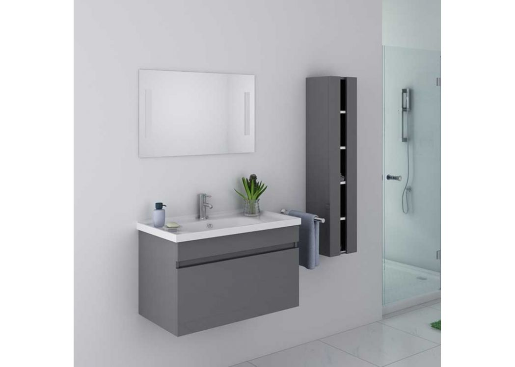 beau meuble de salle de bain gris taupe suspendu meuble de salle de bain gris taupe ref dis800agt. Black Bedroom Furniture Sets. Home Design Ideas