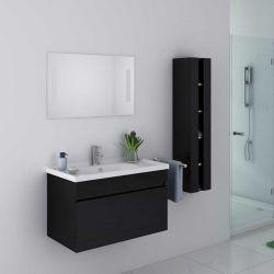 Meuble original noir avec 1 vasque, miroir et placard DIS800AN