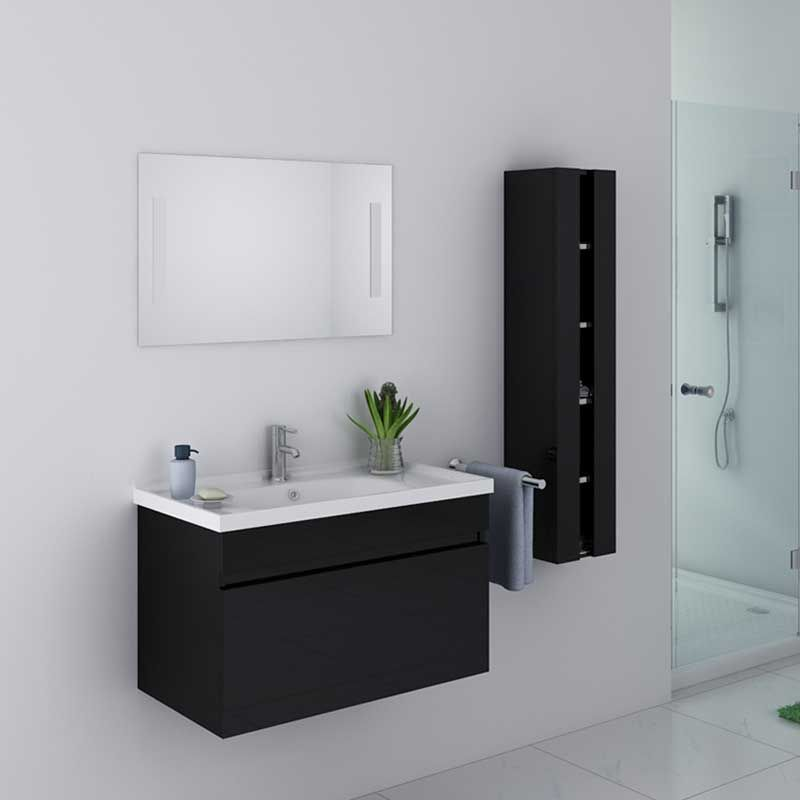 meuble de salle de bain noir brillant meuble de salle de. Black Bedroom Furniture Sets. Home Design Ideas