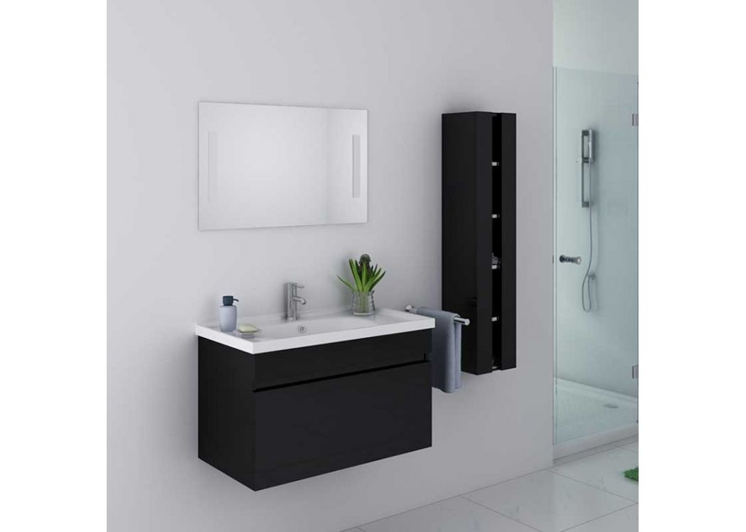 meuble de salle de bain noir brillant meuble de salle de bain noir dis800an. Black Bedroom Furniture Sets. Home Design Ideas