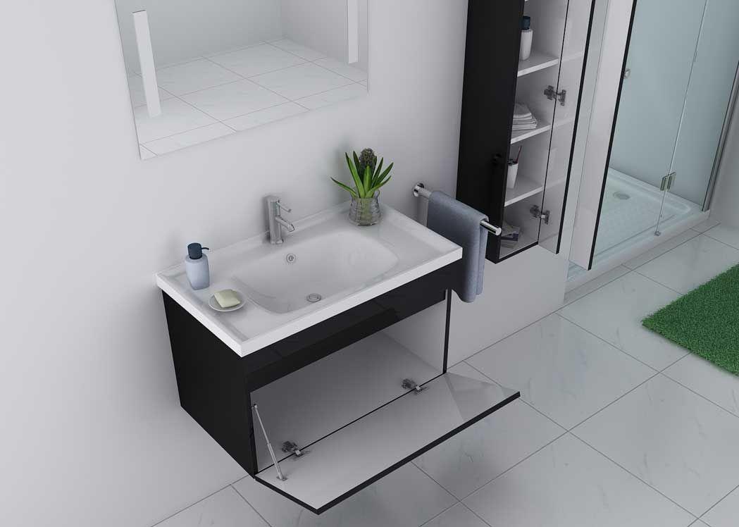 Meuble de salle de bain noir brillant meuble de salle de for Miroir salle de bain noir