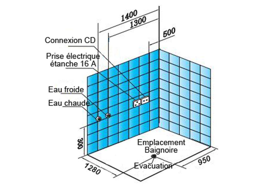 Baignoire balneo rectangulaire d haraiki for Implantation de salle de bain